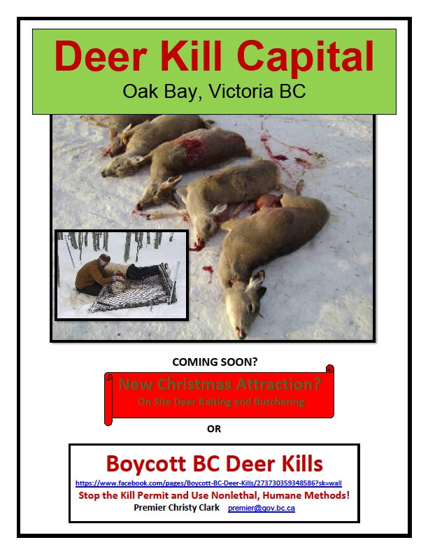 Deer Killing Capital Bc! Oak Bay, Central Sanich, Elkford And Kimberley!
